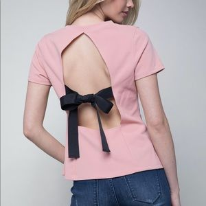 bebe debbie bow back pink top